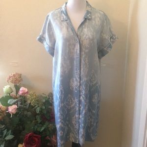 Soft Surroundings Ombré Chambray Shirt Dress Large